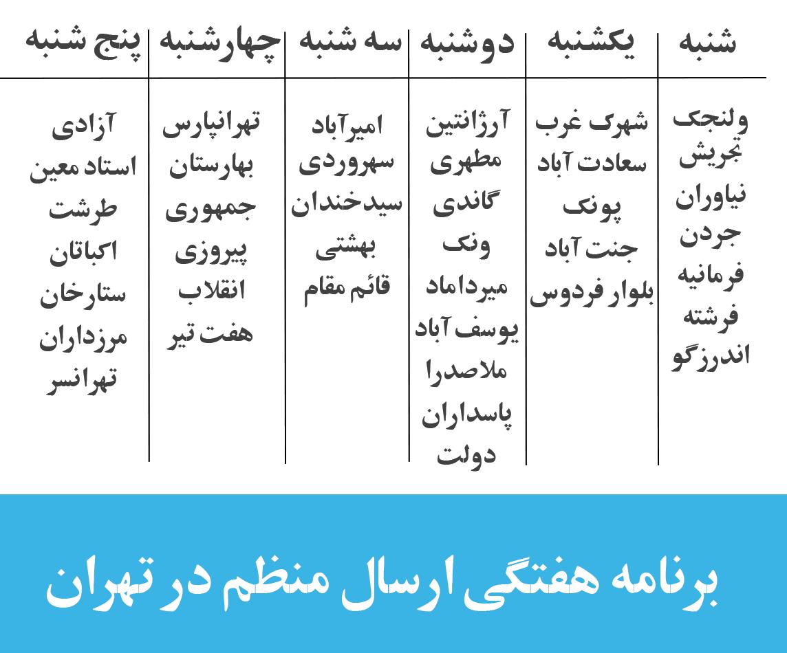 tehran-delivery-schedule